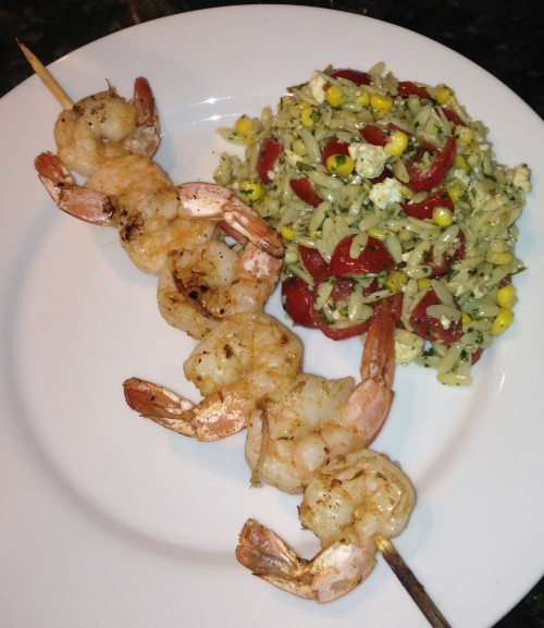 Grilled Chili Lime Shrimp Skewers (pictured with Southwestern Pasta Salad)