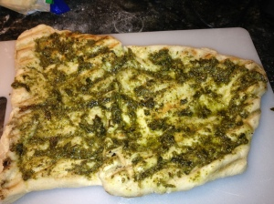 pizza with pesto